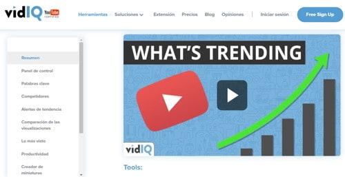vidiq y tendencias en youtube